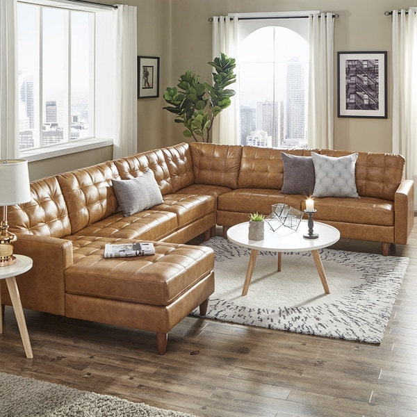 Shop Odin Caramel Leather Gel L-Shape Sectional with ...