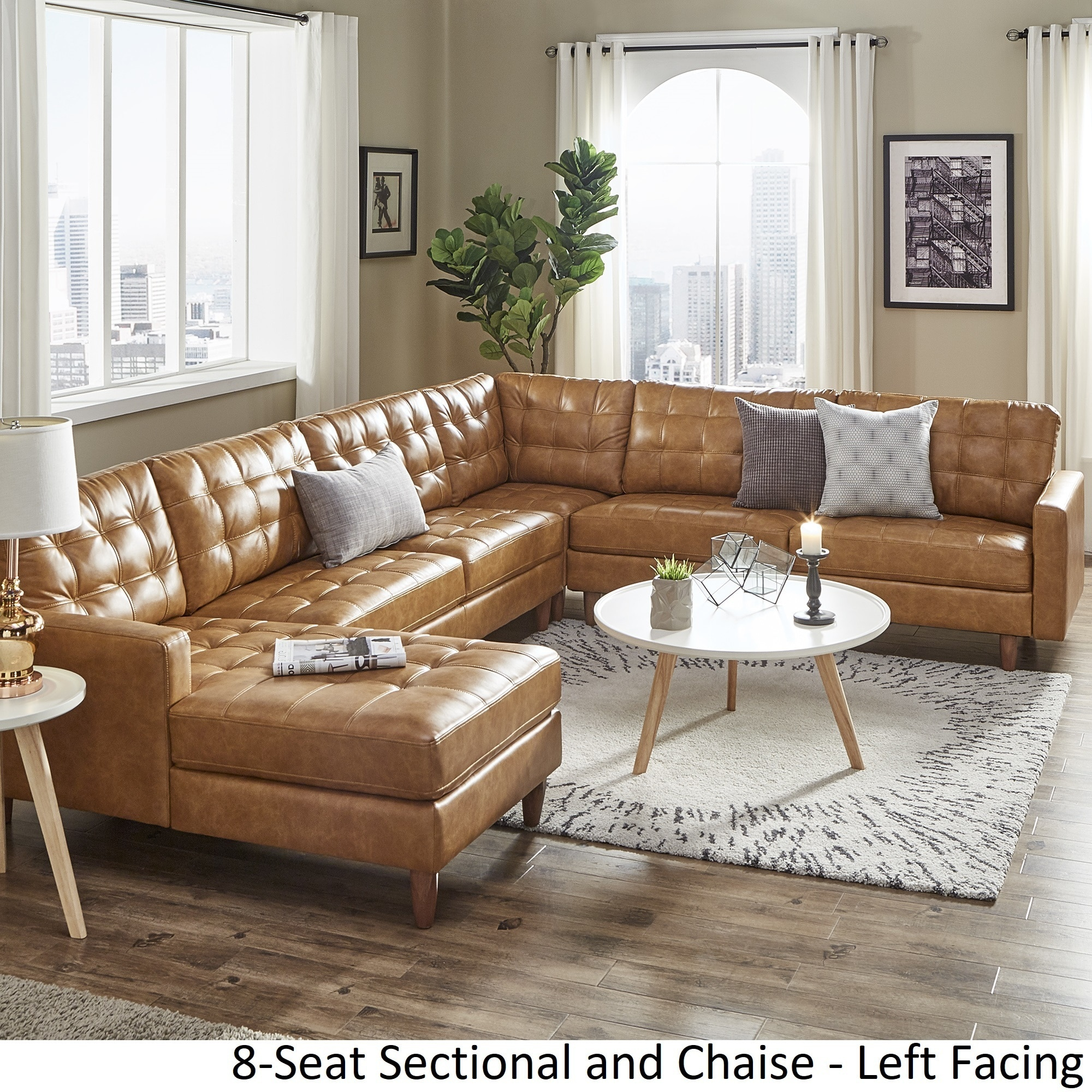 Admirable Odin Caramel Leather Gel L Shape Sectional With Chaise By Inspire Q Modern Caraccident5 Cool Chair Designs And Ideas Caraccident5Info
