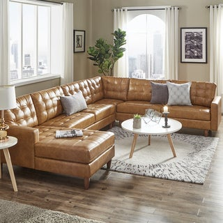 Odin Caramel Leather Gel L-Shape Sectional with Chaise by iNSPIRE Q Modern