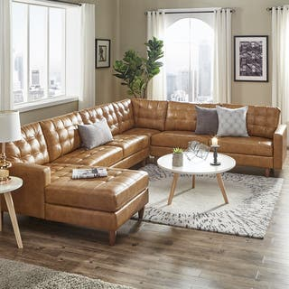 Odin Caramel Leather Gel L Shape Sectional With Chaise By Inspire Q Modern