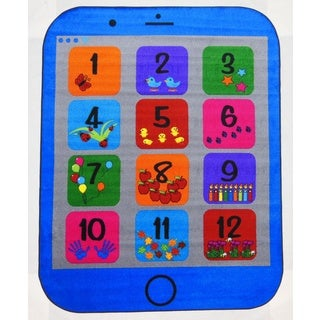Kids World Blue Phone Number Area Rug - EXACT SIZE