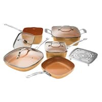 Gotham Steel 10-Piece Nonstick Kitchen Cookware Set- Copper Square