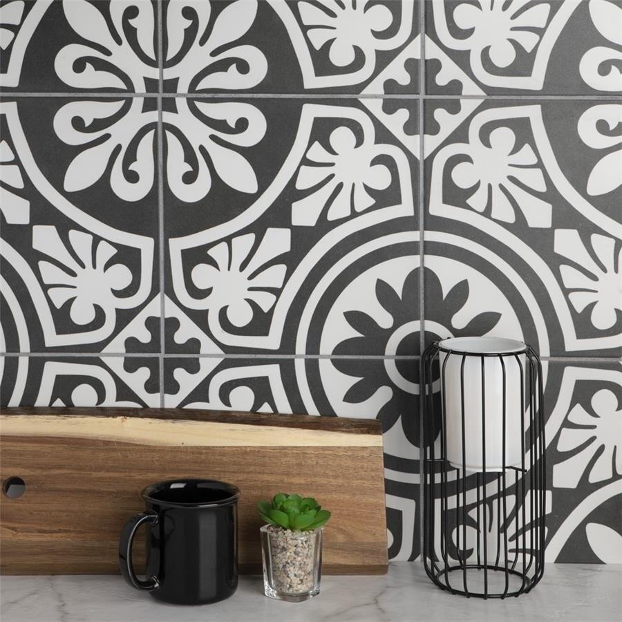 SomerTile 9.75x9.75-inch Mali Tiena Black Porcelain Floor and Wall Tile (16 tiles/11.11sqft.) (SAMPLE-Mali Tiena)