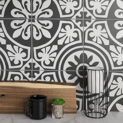 "SomerTile Majestic Tiena Black Encaustic 9.75"" x 9.75"" Porcelain Floor and Wall Tile"
