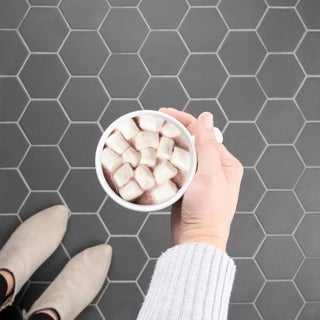 SomerTile 10x11.375-inch Manhattan Super Hex Black Unglazed Porcelain Mosaic Floor and Wall Tile (10/Case, 8.28 sqft.)