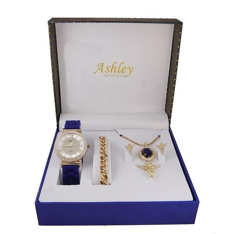 Ashley Princess Ladies Watch 4 Piece Gift Set - 1412/8229-AG Ruby Blue