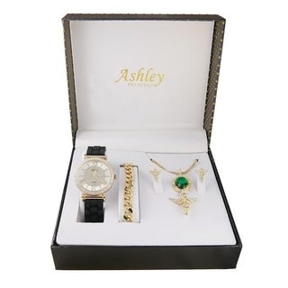 Ladies Watch 4 Piece Gift Set - 1412/8229-AG Ruby Green