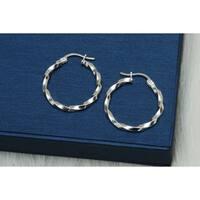 Pori Jewelers Sterling Silver Twisted Hoop Earrings - Sterling Silver