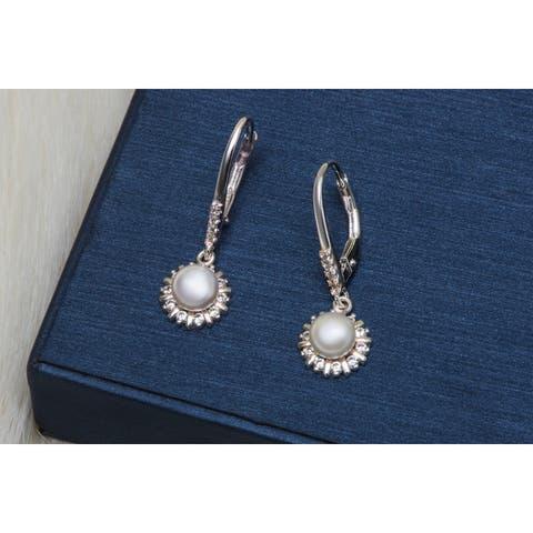 Pori Jewelers Sterling Silver Pearl & CZ Drop Leverback earrings - Sterling Silver