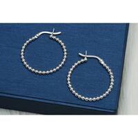 Pori Jewelers Sterling Silver Ball beaded Hoop Earrings - Sterling Silver