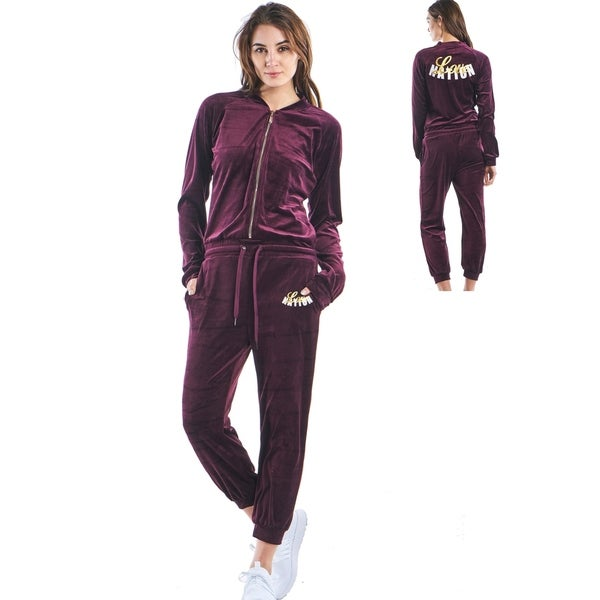 Shop Ladies Zip Up Velour Jumpsuit With 2 Front Pockets By Special One Overstock 19819507