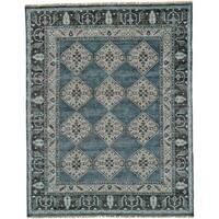 Grand Bazaar Alden Dark Blue/Grey Wool Area Rug - 2' x 3'