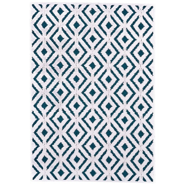 "Grand Bazaar Qazi Teal/ White Wool Rug - 1'9"" x 2'10"""