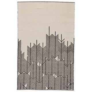 Grand Bazaar Bashia Black/ White Wool Rug - 2' x 3'