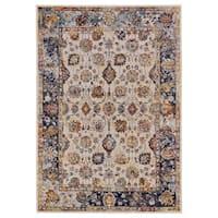 "Grand Bazaar Pinston Cream/ Blue Wool Rug (1'-8 X 2'-10) - 1'8"" x 2'10"""
