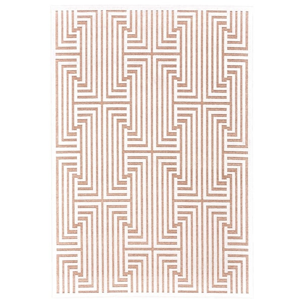 "Grand Bazaar Qazi Blush/ White Wool Rug - 5'3"" x 7'6"""