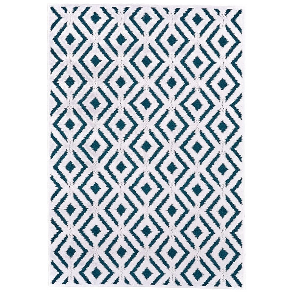 "Grand Bazaar Qazi Teal/ White Wool Rug - 5'3"" x 7'6"""