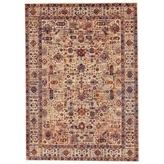 Grand Bazaar Moberly Taupe/ Blue Wool Rug (5' X 8') - 5' x 8'
