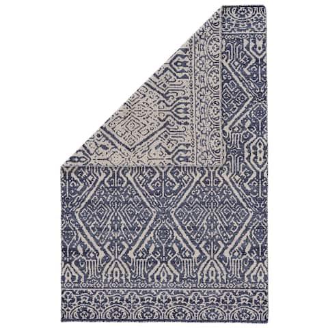 Grand Bazaar Harlee Cobalt/White Wool Area Rug - 5' x 8'