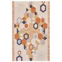 Grand Bazaar Fariza Collection Orange/Ivory Wool Geometric Area Rug - 5' x 8'