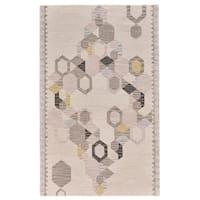 Grand Bazaar Fariza Collection Ivory/Yellow Hand-tufted Wool Area Rug (5'0 x 8'0)