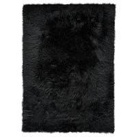 Grand Bazaar Beringer Black Wool Rug - 5' x 7'