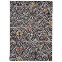 Grand Bazaar Halleck Charcoal/ Multi Wool Rug - 2' x 3'