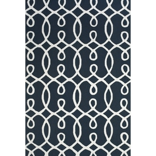 "Grand Bazaar Apricity Navy/ White Wool Rug - 7'6"" x 9'6"""