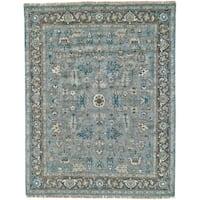 Grand Bazaar Alden Blue Steel/Chocolate Wool Rug - 8'6 x 11'6