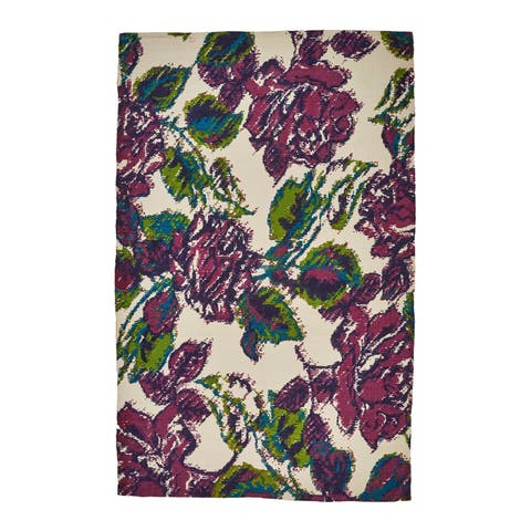 Grand Bazaar White/ Purple Area Rug - 2' x 4'