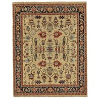 Grand Bazaar Alden Camel/Black Wool Area Rug - 7'9 x 9'9