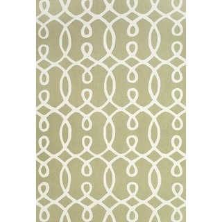 "Grand Bazaar Apricity Green/ White Wool Rug - 7'6"" x 9'6"""