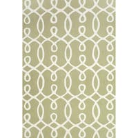 Grand Bazaar Apricity Green/ White Wool Rug - 8'6 x 11'6