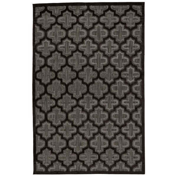 Grand Bazaar Marne Black/ Charcoal Wool Rug - 7'6 x 10'6