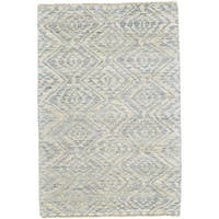 Grand Bazaar Shadan Light Blue/White Wool Geometric Rug - 7'9 x 9'9