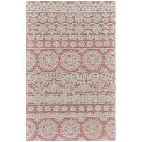 Grand Bazaar Hillsdale Dusty/ Pink Wool Rug - 9'6 x 13'6