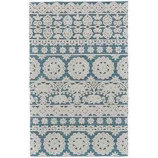 Grand Bazaar Hillsdale Sea Blue Wool Rug - 8' x 11'