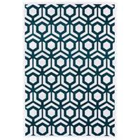 Grand Bazaar Qazi Teal/ White Wool Rug (7'-6 X 10'-6) - 7'6 x 10'6