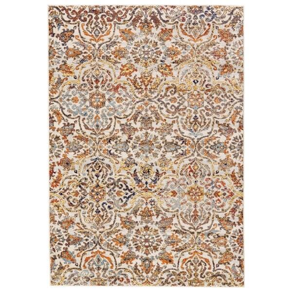 Grand Bazaar Pinston Cream/ Grayblue Wool Rug - 8' x 11'