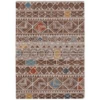 Grand Bazaar Halleck Brown/ Multi Wool Area Rug - 8' x 11'