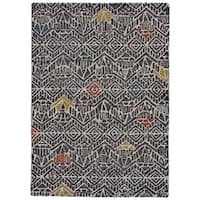 Grand Bazaar Halleck Charcoal/ Multicolor Wool Area Rug (8' x 11')