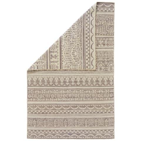 Grand Bazaar Harlee Gray/White Wool Rug - 8' x 11'