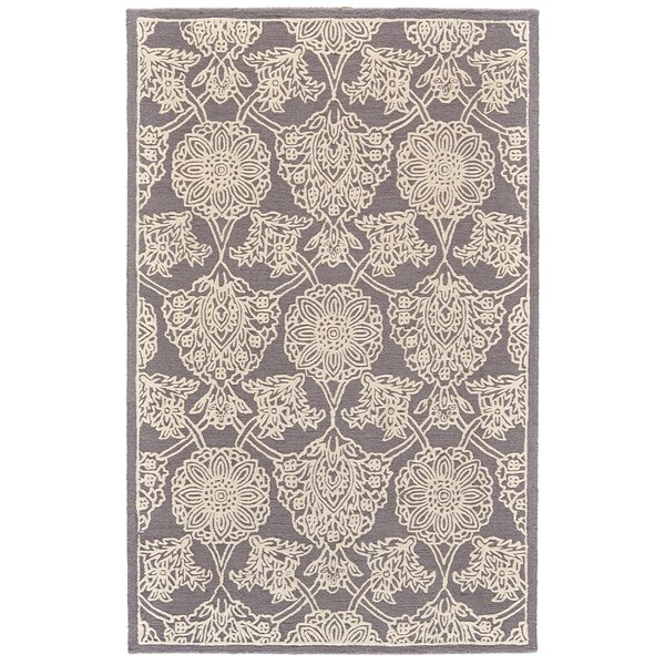 Shop Grand Bazaar Eckels Dark Grey Ivory Wool Area Rug 8