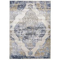 Grand Bazaar Crowford White/ Light Blue Wool Rug - 10' x 14'