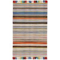 Grand Bazaar Mirella Grey/Light Blue Wool Area Rug - 8' x 10'