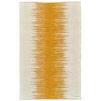 Grand Bazaar Bashia Collection Transitional Geometric Handwoven Mustard Wool/Cotton Rug (8' x 10')