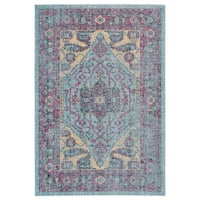 Grand Bazaar Tosca Aqua/ Multi Wool Rug (8' X 11') - 8' x 11'