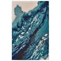 Grand Bazaar Potomac Coastal Blue Wool Rug (2'-2 X 4') - 2'2 x 4'