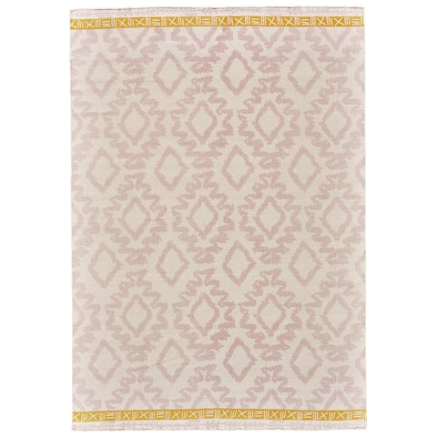 Grand Bazaar Adia Blush/ Yellow Wool Rug (5' X 8') - 5' x 8'