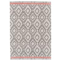 Grand Bazaar Adia Gray/ Orange Wool Rug (5' X 8') - 5' x 8'